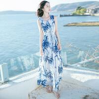 夏季新品女装系带无袖雪纺连衣裙长裙波西米亚海边度假沙滩裙 图片色X6