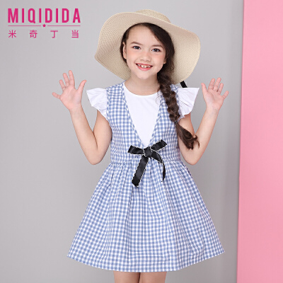 米奇丁当女童两件套裙短袖配背心裙2018夏季新款套装裙时尚连衣裙