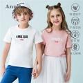 安奈儿童装男童女童T恤短袖圆领夏装新款薄款中大童休闲上衣
