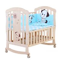婴儿床实木宝宝床bb大床蚊帐摇床欧式小摇篮床儿童拼接