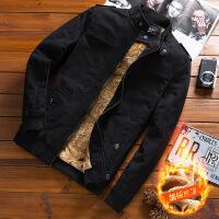 男士外套春秋季2018新款韩版修身秋装潮帅气休闲男装牛仔加绒夹克 -加绒加厚