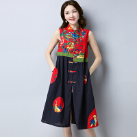 2018夏季新款民族风女装中式印花改良唐装长款复古背心马甲