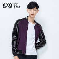 gxg.jeans男装秋季紫色拼接修身韩版休闲夹克棒球服外套53621265