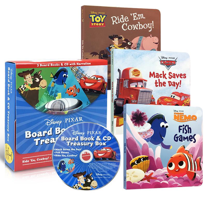 英文原版 Disney-Pixar 迪士尼 皮克斯 纸板书附CD: Ride 'Em Cowboy / Fish Games / Mack Saves the Day 3册绘本 经典卡通有声书