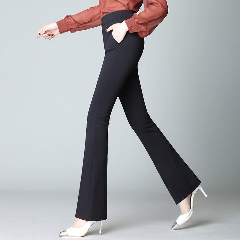 春季新款高腰气质女裤子微喇叭裤长裤格子修身显瘦弹力休闲裤