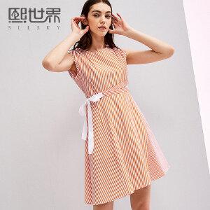 熙世界圆领无袖套头连衣裙女2018年夏装新款系带