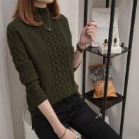 秋冬季女士针织衫长袖打底衫毛衣半高领百搭短款线衣新款加厚套头