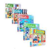 英文原版 Busy Books 忙碌系列5本套装 Busy Farm 幼儿启蒙认知趣味机关书 玩具书 纸板书 操作书B