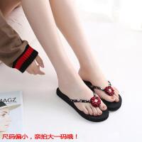 韩版女式时尚人字拖夏季坡跟厚底夹脚沙滩鞋外穿凉拖鞋潮平跟