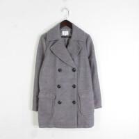 M04039秋冬新款韩版西装领双排纽扣宽松显瘦女纯色毛呢外套