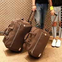 尼龙牛津布面料旅行拉杆软包旅行包行李箱包旅行登机箱包手提休闲 深棕色 深棕色