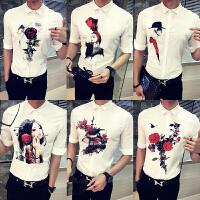 夏季男士短袖衬衫韩版修身七分袖寸衫青年发型师潮流帅气中袖衬衣