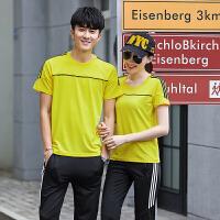2019春季新款夏季新款情侣短袖长裤运动套装 韩版修身时尚套装
