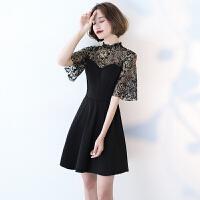 黑色晚礼服女短款2018新款春季时尚立领性感派对小礼服连衣裙聚会 黑色