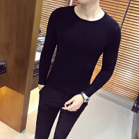 新款秋冬男士薄款针织衫韩版修身纯色毛衣社会精神小伙紧身打底线
