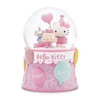 Hellokitty生日蛋糕旋转雪花水晶球情人节送女生音乐盒礼物U Kitty生日蛋糕