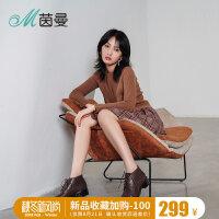 茵曼女鞋2018年新款绑带软底短靴时尚英伦牛皮粗跟女靴4883071069