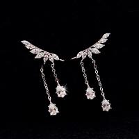 925银天使之翼耳夹女无耳洞耳环长款耳饰品情人节礼物