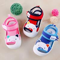 小宝宝鞋子布凉鞋男女婴儿学步凉鞋夏季卡通可爱