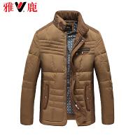 yaloo雅鹿男士装饰口袋立领短款羽绒服 无帽修身保暖外套YP48390