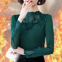 【买了都说好】【好质量羊胎绒】蕾丝加绒加厚保暖打底衫半高领2018新款长袖女式秋冬季小衫上衣服