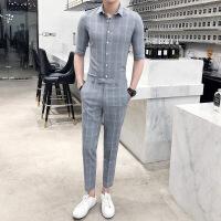 时尚型男潮流男装18韩版春夏装格子七分袖衬衫套装男九分裤两件套