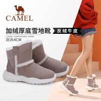 骆驼女鞋2019冬季新款加厚短靴女平底冬棉鞋加绒保暖毛毛雪地靴女