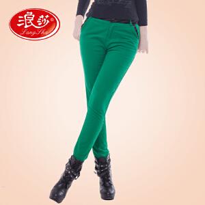 浪莎打底裤 女士修身弹力加厚加绒保暖裤 春季新品炫彩小脚裤