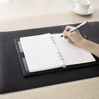 得力18350 游戏鼠标垫PU皮质加大号简约时尚办公桌垫加厚防水写字学习垫 黑色
