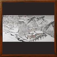 《喜迎大雪山村秀》李群臣 山东美协会员 东方雪景画创始人 天津美院毕业【R2352】