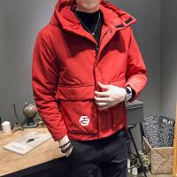 韩版修身青年保暖休闲外套冬季款男士连帽大口袋棉衣外套