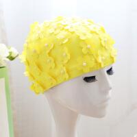 泳帽女花朵 舒适布料不勒头游泳配件安全舒适泳帽 珍珠