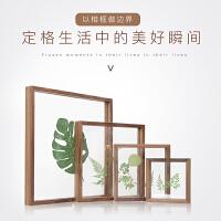 实木相框创意挂墙照片墙摆台黑胡桃白蜡木双层克力画框