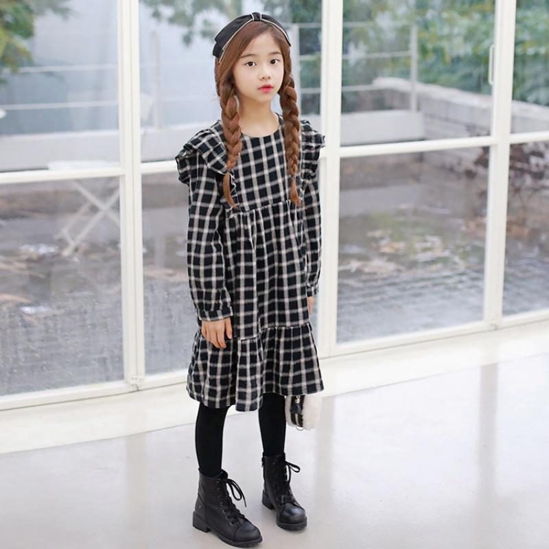 2019 韩版女童连衣裙复古格子童裙大中童百搭童装秋款 黑色