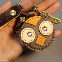 个性手工真皮汽车小车钥匙扣女款创意挂件韩国可爱文艺小清新刻字 咖啡色