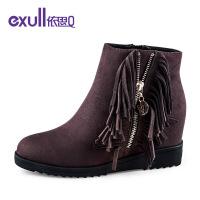 依思q冬季新款绒面侧拉链内增高短靴潮流流苏女靴子