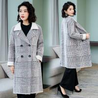 赫本风仿水貂绒格子毛呢外套2019秋冬季新款女士韩版流行呢子大衣