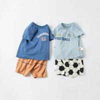 戴维贝拉男童套装夏装2021新款洋气婴儿短袖两件套儿童纯棉衣服