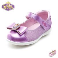 【99元任选2双】迪士尼Disney童鞋18新款婴童蝴蝶结皮鞋女童宝宝时装鞋透气学步鞋(0-4岁可选) K00163
