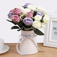 仿真花摆件餐桌装饰品居家小摆件室内客厅落地假玫瑰花束干花