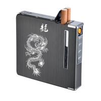 烟盒20支装自动弹烟创意个性带防风USB充电打火机男定制刻字惊喜的礼物节日礼品新年礼物