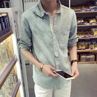 棉麻字母刺绣春夏新时尚潮男长袖衬衫透气男士衬衫亚麻衬衫
