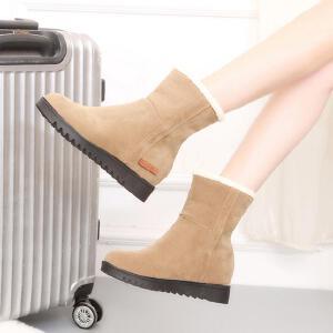 加绒短靴女雪地靴女棉靴子女2018秋冬季新款马丁短靴短筒平底棉鞋学生女鞋女靴子300NX