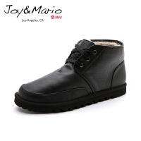jm快乐玛丽男鞋秋冬季黑色高帮加绒皮鞋男士系带厚底休闲鞋58036M