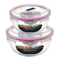 Glasslock 三光云彩�n���M口�化玻璃沙拉碗玻璃�菜盒沙拉碗便��盒二件�bGL403