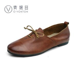 青婉田2017春季新款文艺女鞋复古擦色单鞋女中口休闲平底鞋小白鞋