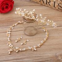 韩式新娘项链三件套金色结婚头饰项链耳环婚纱礼服配饰品简约风格