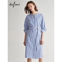 伊芙丽衬衫裙2019夏新款韩版中长款短袖条纹气质复古衬衫连衣裙女