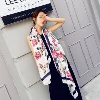 新款丝巾 树叶花朵图案 时尚百搭印花丝巾围巾披肩两用