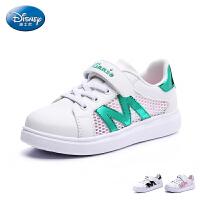 迪士尼童鞋2017新款小白鞋户外休闲鞋学生鞋女童网布运动鞋旅游鞋中童滑板鞋